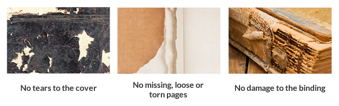 Damaged books including tears, torn pages and damage to binding