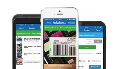 Screen shots of the We Buy Books app on different mobile devices