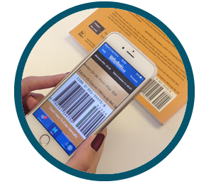 Someone scanning an unwanted book using the We Buy Books mobile app