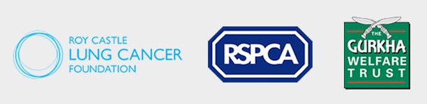 Charity logos including Roy Castle Lung Cancer Foundation, RSPCA and The Gurkha Welfare Trust