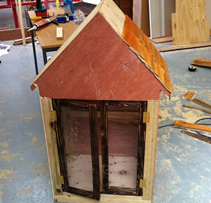 The We Buy Books FRee Little Library under construction