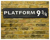 Platform 9 3/4 sign from J.K Rowling's Harry Potter