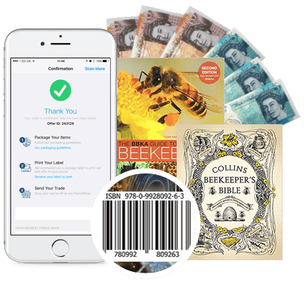Phone with beekeeping books and cash